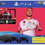 ps4 500gb console black with fifa 20, 2 controllers