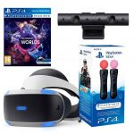 ps vr headset with camera, vr worlds and move controllers